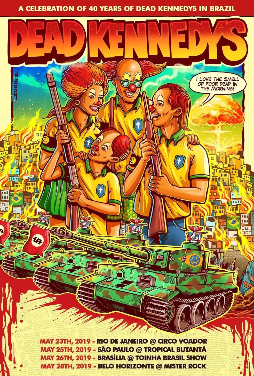 Dead Kennedys cancela shows da turnê no Brasil após polêmica de cartaz